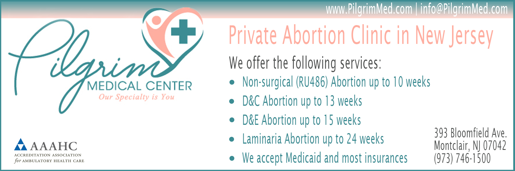 Pilgrim Medical Center - abortion clinic in New Jersey offering Abortion Pill, surgical abortions, in-clinic abortion